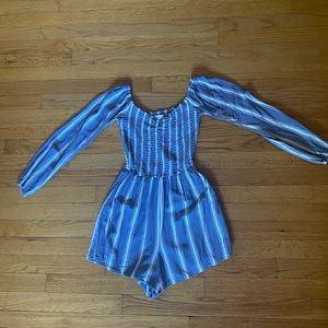 Hollister Blue and White Striped Romper